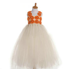 2017 fashion handmade tutu 3d flowers little girls formal dress kids gown design