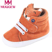 0-18M Baby shoes girls boys Fox head pattern high canvas shoes Baby Sneaker Anti-slip Soft Sole Toddler baby first walker shoes(China)