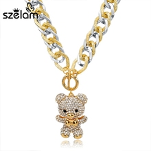 Buy Szelam Collares 2017 Crystal Bear Necklace Women Gold Chain Long Statement Necklaces & Pendants Sweater Accessories SNE150785 for $5.28 in AliExpress store