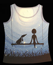 Track Ship+Vintage Vest Tanks Tank Tops Camis Little Girl Watch Blue Northern Lights with My Dog Friend Swing 0836