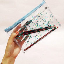 wholesale 20 pcs per pack Girl's fashion ulzzang transparent jelly star pen bag student organizer makeup pouch clear
