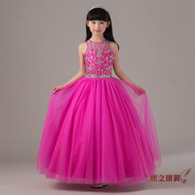 100% real luxury hot pink handsewing crystal rhinestone beading childrens girl ball gown fancy dress/party/beauty/dance dress(China)