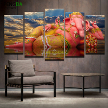 Wall Art Canvas Painting Frame Home Decor Poster 5 Pieces India Ganesh Pictures Elephant Trunk God Modern HD Prints Photo PENGDA(China)