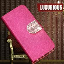 Hot Quality Flip PU Leather Case For Samsung GALAXY Trend Duos S7562 Cover S 7562 GT-S7562 Stand Back Cover With diamond style
