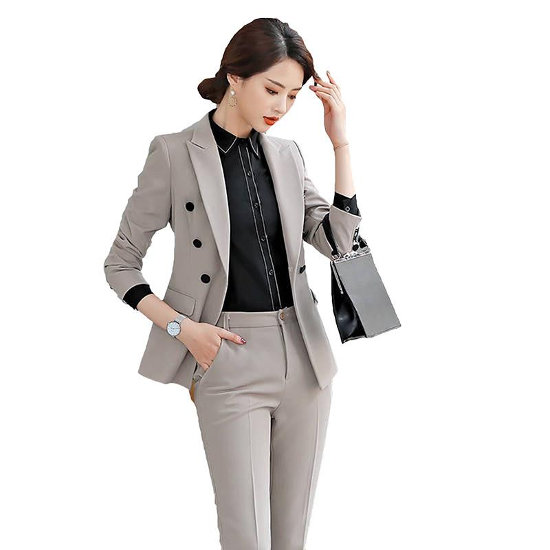 2019 Formal Elegant Women's Double Breasted Blazers Trouser Suits Office Lady Solid Slim Pants Suits For Women 2 Piece Sets W90