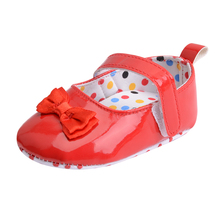Red Butterfly-knot Baby Shoes Solid Patent Leather Hook & Loop 0-18 Months Baby Girls Polka Dots Newborn Toddler Shoes(China)
