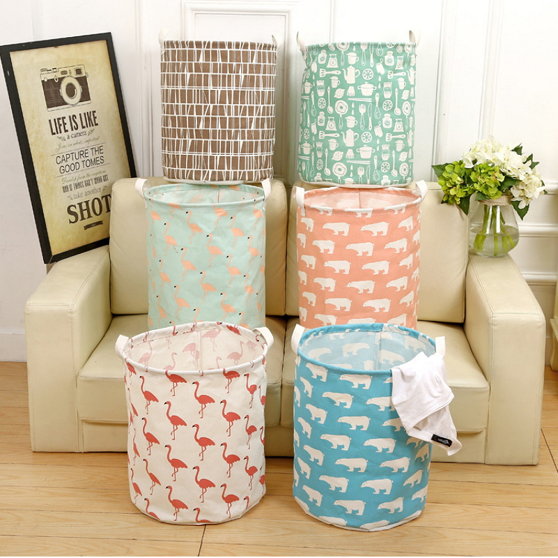 . Cotton Linen Laundry Basket Storage Bucket For Toy Washing Dirty