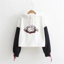 Hoodies Women Harajuku 2017 Rabbit Flowers Embroidery Cotton Sudaderas Mujer Cross Ears Hooded Women Sweatshirt Moletom Femme(China)