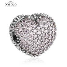 SHEALIA Pink CZ Pave Open My Heart Clip Charms 925 Sterling SIlver Heart Stopper Beads For Bracelets Diy Jewelry Accessories