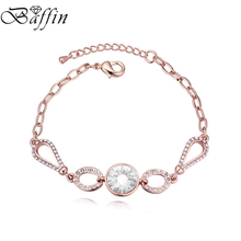 2017 Baffin Round Crystals Charm Bracelets Bangles Rose Gold Color Chain Women Christmas Jewelry Gift Crystals From SWAROVSKI