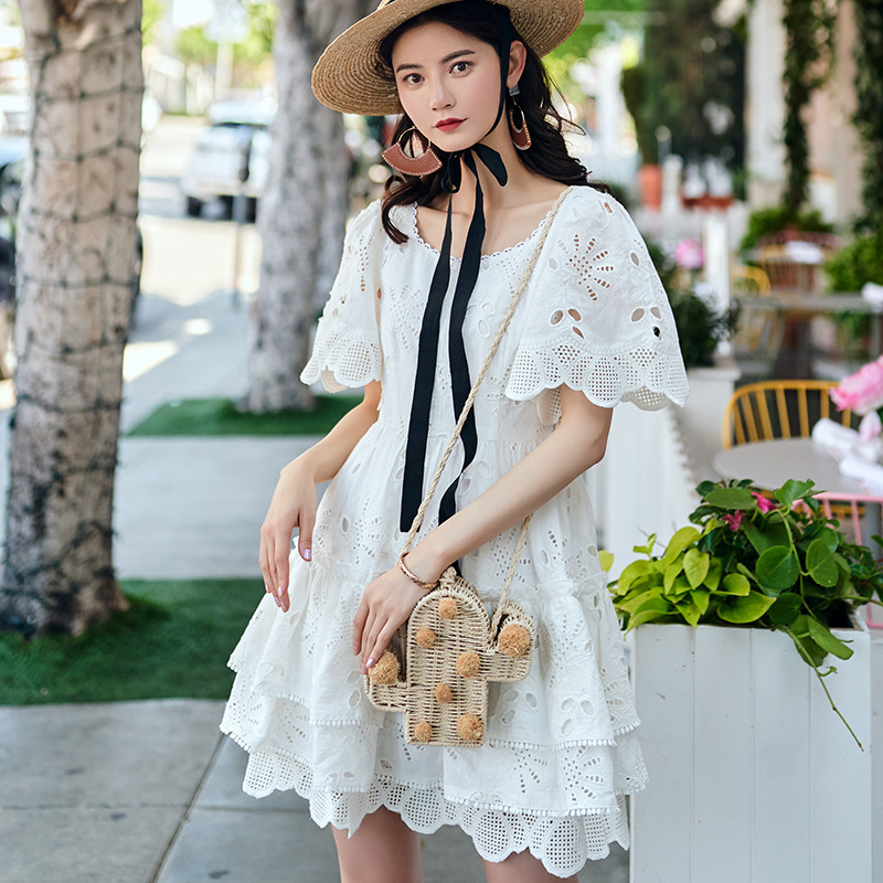 Fashion Lace Embroidery Hollow Out Dress Woman High Waist Summer Dresses 2019 New High Street Style Korean White Mini Dress