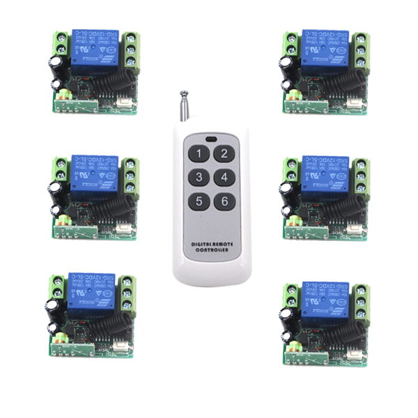 DC 12V 10A 6 Receivers, RF 1 Channel Wireless Remote Control Switch System, Automation Controller SKU: 5250<br>