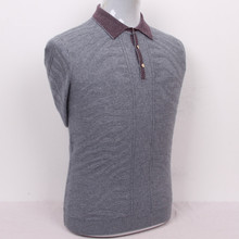 dark grain twisted 100%goat cashmere men's boutique pullover sweater patchwork color polo collar S/105-3XL/130(China)