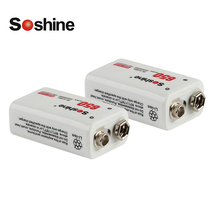 Soshine 2pcs Power Battery 6F22 9V Li-ion Lithium 650mAh Chemistry Rechargeable Battery For Electronic Instruments + battery box