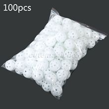 White 100Pcs/Pack Plastic Whiffle Airflow Hollow Golf Balls Practice Golf Balls Training Sports Golf Accessories Aids Tool Clubs