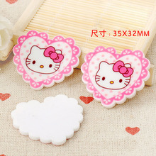 kawaii DIY heart Hello Kitty KT cat mini Figurine crafts holiday garden decoration flat back planar resin hair accessories(China)