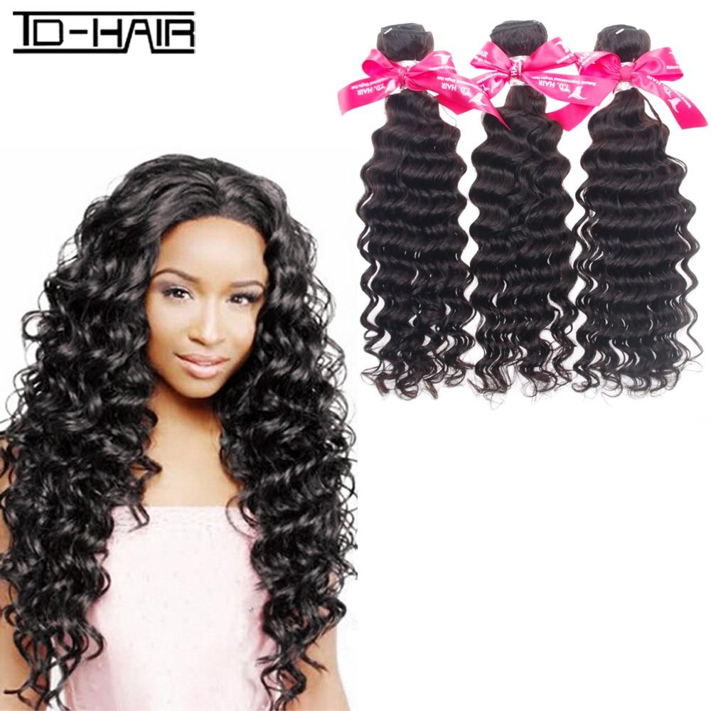 8A Brazilian Virgin Hair Deep Wave Color 1B# 3pcs/lot Human Hair Weaving remy hair Bundles Brazilian Deep Wave TD HAIR extension<br><br>Aliexpress