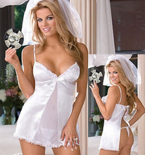 Erotic Sexy Lady White Lace Bride Dress Sexy Lingerie Low-Cup Open Back Sex Photo Sleepwaer Wedding Game Cosplay Babydoll+Veil