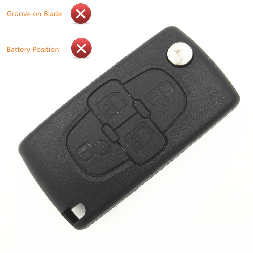 FOR Peugeot 4 Button 1007 Citroen C8 Remote Key With HU83 Groove Blade /& LOGO