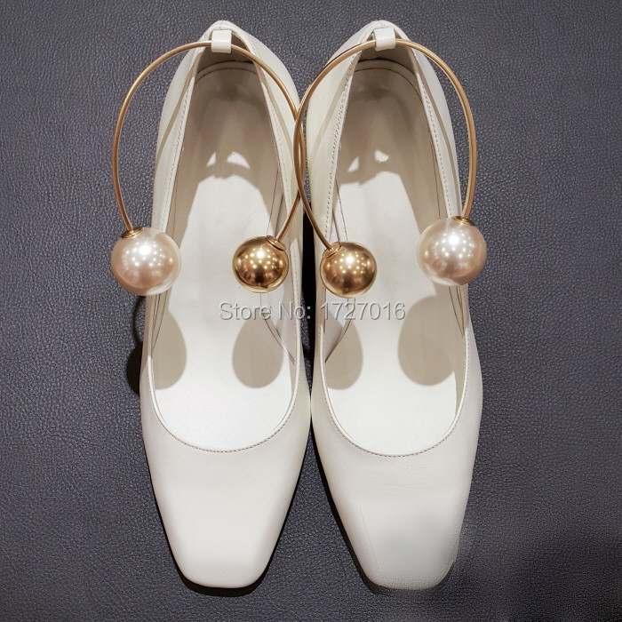 Fashion Square Toe Gladiator Women Pumps Sexy Pearl Clasp Ladies High Heels Wedding Dress Shoes Woman White Color Scarpe Donna<br><br>Aliexpress