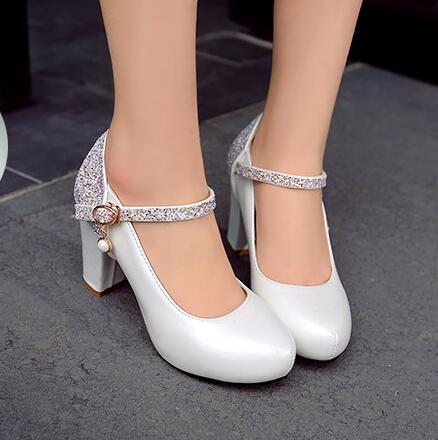 Small Code High Heels for Women Shoes Buckle Strap High-heeled Shoes Thick White Ladies Sweet Pumps Princess Shoes Big Size 43<br>