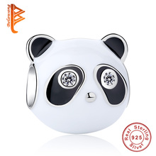 BELAWANG 925 Sterling Silver Charm Black Enamel & Clear CZ Panda Charm Beads Fit Original Bracelet Authentic DIY Jewelry(China)