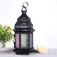 Classic Moroccan Decor Candle Holders Votive Iron Glass Hanging Candlestick Candle Lantern Home Party Wedding Coffee Decoration