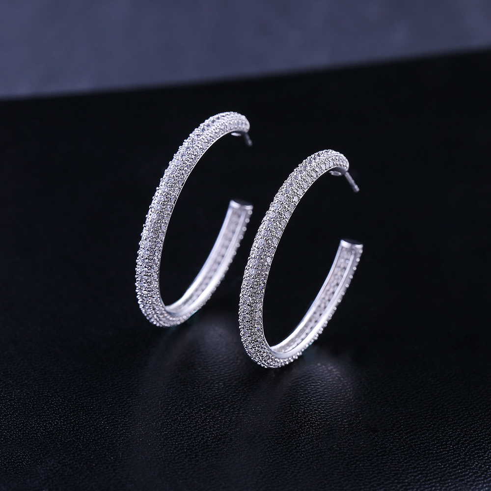 jankelly  Luxury Geometry Circle Round Apeture Shape Full Cubic Zirconia Stud Earrings For Women Girls