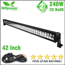 Cheap 6000K-6500K combo beam dual rows waterproof 42 inch 240W off road 4x4 car led driving light bar 12v 24v