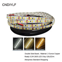 Fast Shipping High Brightness White 2835 LED Strip 5m Light Family Emitting Diode Tape 0.2W/ LED DC 12V 24V 5m/Roll,120LED/m(China)