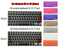 "Silicone laptop Keyboard Cover Skin sticker for MacBook Pro retina air 13"" 15"" 17"" inch EU UK US layout"