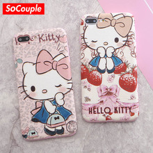 SoCouple Cute Cartoon Animal Hello Kitty Phone Case For iPhone 7 6 6s Plus 6/7/8 plus 8 Soft TPU Gel Flexible Silk Pattern Cover