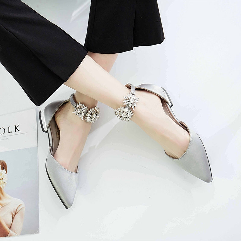 Koovan Women Flats 2017 Spring New Pointed Flat Single Shoes Flat Buckle A Diamond Shoes Silk Satin Rhinestone Girls Sandals<br>