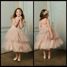 Royal Child Dresses Flower Girl Dresses Ruched A-Line Tulle Tea-Length Champagne Pageant Dresses Girl 2014 New Designer