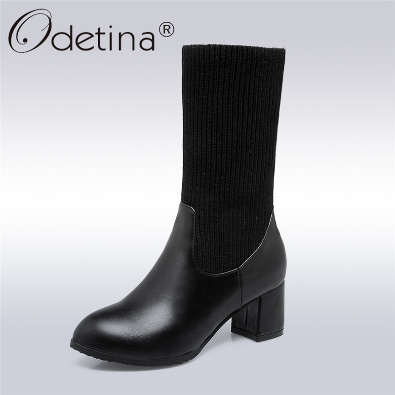 Odetina 2018 New Fashion Socks Boots For Women Elegant Mid Calf Square Heel Shoes Ladies Slip On High Heels Boots Big Size 32-43<br>