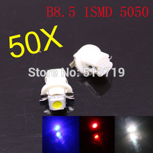 Free Shipping 50x T5 B8.5D 12V LED Lamp Car source Gauge 5050 1SMD Speedo Dashboard Dash Side Light aoto Bulb 5 clour(China)