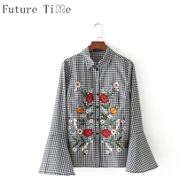 Future Time Plaid Women Blouse Flower Embroidery White Shirt Vintage Butterfly Sleeve O-Neck Top Female Basic Floral Shirt SC595(China)