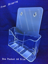 Clear A4 Single Pocket Plastic Brochure Literature Display Holder Racks Stand To Insert Leaflet on Desktop(China)