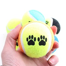1Piece New Cute Pet Dog Cat Elastic Rubber Chew Tennis Ball Fun Training Footprint Bite Toy (Random Color)(China)