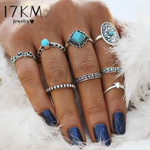 17KM Geometric Stone Oval Midi Ring Sets Boho Beach Anillos Finger knuckle Rings for Women Man Punk Style Jewellery Accessory