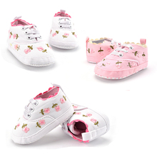 1 Pair Baby Shoes Toddler Girl Walking Shoes White Lace Embroidered Spring Autumn Soft Shoes Prewalker Pink White