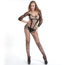 Buy Hot Sexy Black Crotchless Fish Net Body Stocking Bodysuit Lingerie Nightwear Babydoll Mesh Erotic Nylon Pantyhose Bodystocking