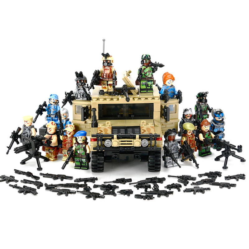 Kazi Military Hummer Car With Many Weapons World War Assault Military Soldier Weapon Model Building Block Bricks<br>