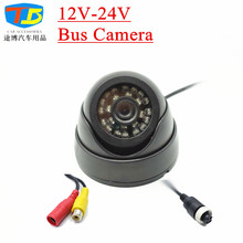 12-24V Night Vision Bus Camera 24 IR LED Truck Vehicle Car Rear View Camera Wide Angle  AV Or Aviation Interface Video Camera