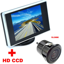 2 in 1 Auto Parking Assistance system 3.5 inch Color LCD Car Video Monitor + 18.5mm HD CCD Car Rear View Camera backup Camera(China)