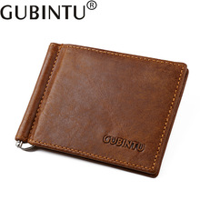 Clamp For Money Clip Fashion Women Men Genuine Leather Wallet Female Male Purse Slim Perse Walet Cuzdan Card Vallet Holder Bag(China)