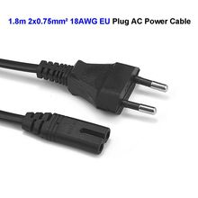 High Quality EU Plug 2 Prong Power Cable C7 Figure 8 AC Power Cord 1.8m 6ft 0.75mm2 For Battery Charger Laptop Computer