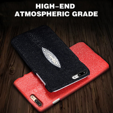 New! LANGSIDI Genuine Leather Case For BlackBerry priv Handmade Custom Luxury Pearl Fish Skin Texture Back Cover(China)