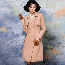 Women Long Wool Coat With Quilting Camel Trench Peacoats Winter New Design Fashion Cashmere Camel Thick Long Women Wool Coats
