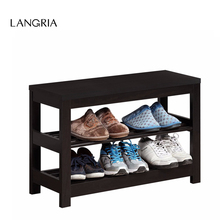 LANGRIA Brand Modern Red Cocoa Finish Shoe Rack Shoe Hanger Composite Wood 3-Tier Shoe Bench For Entryway Hall or Living Room(China)